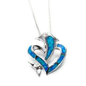 Blue fire Opal 925 Silver Stamped Dolphin Necklace